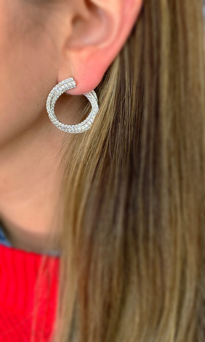 Diamond Front-Facing Twist Hoop Earrings