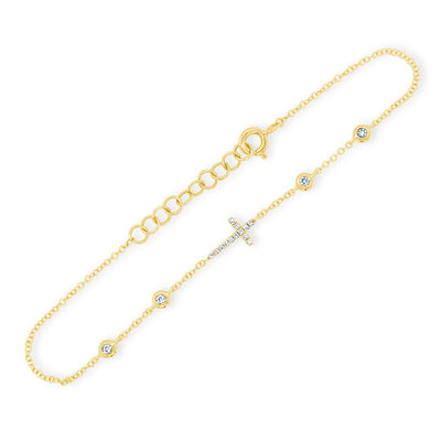 Diamond Cross Chain Bracelet