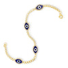 Bezel-Set Diamond Evil Eye Bracelet