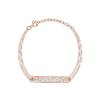 Double Cable Chain Bracelet with Diamond Bar