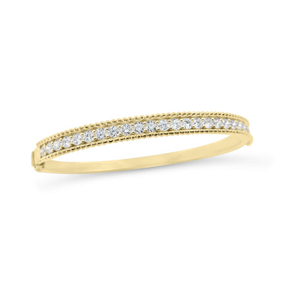 Diamond Beaded Gold Bangle