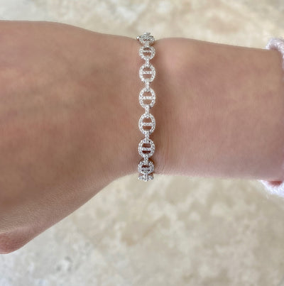 Diamond Tri-Link Bangle Bracelet