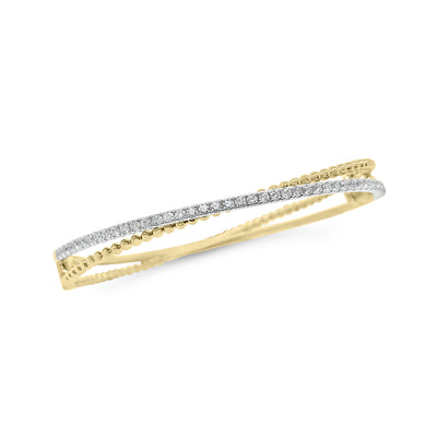 Diamond Two-Tone Crossover Bangle Bracelet