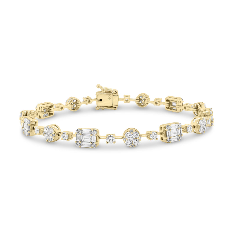 Diamond Circles & Rectangles Bangle Bracelet