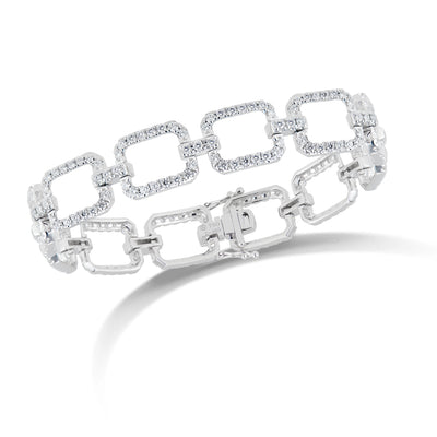 Diamond Rectangle Link Bracelet