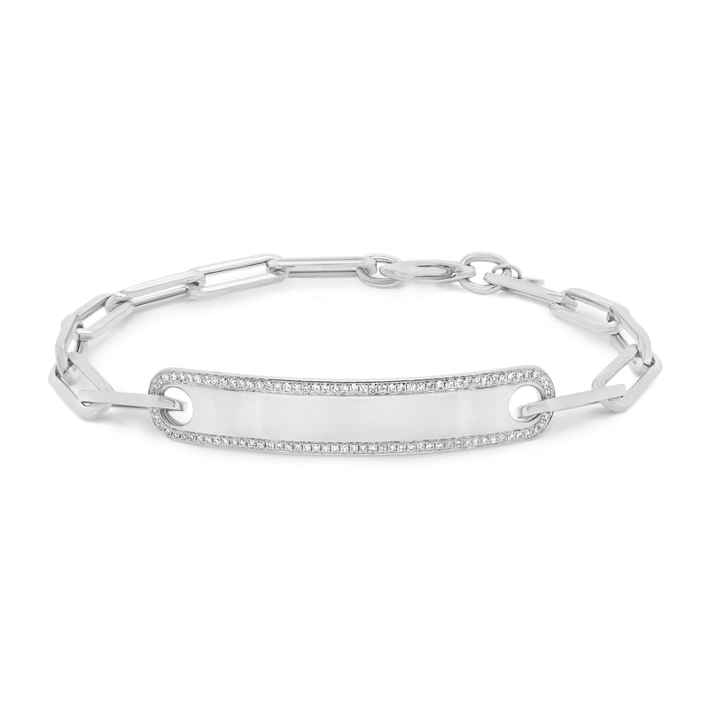 Diamond Framed ID Bracelet with Paperclip Chain