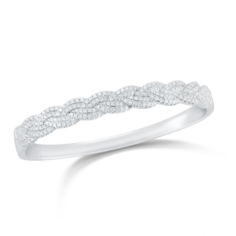 Braided Diamond Bangle Bracelet