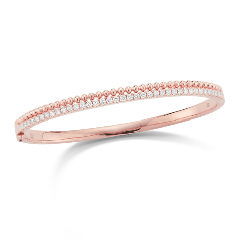 Diamond & Beaded Gold Bangle Bracelet