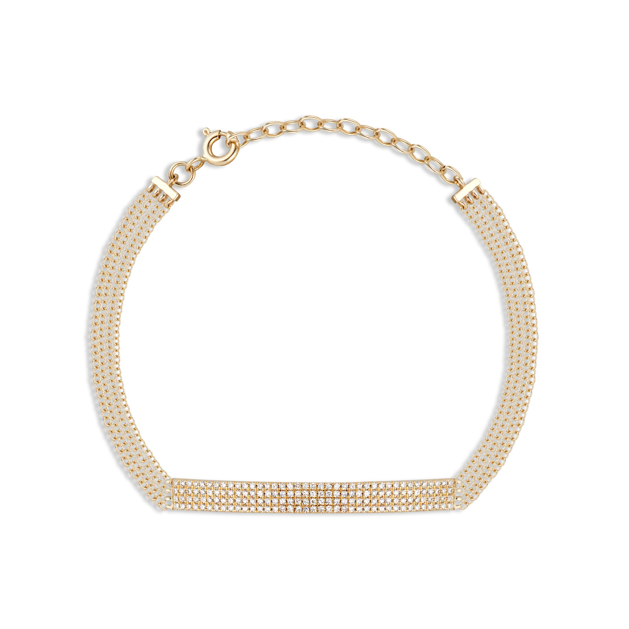 Quadruple Cable Chain Bracelet with Diamond Bar