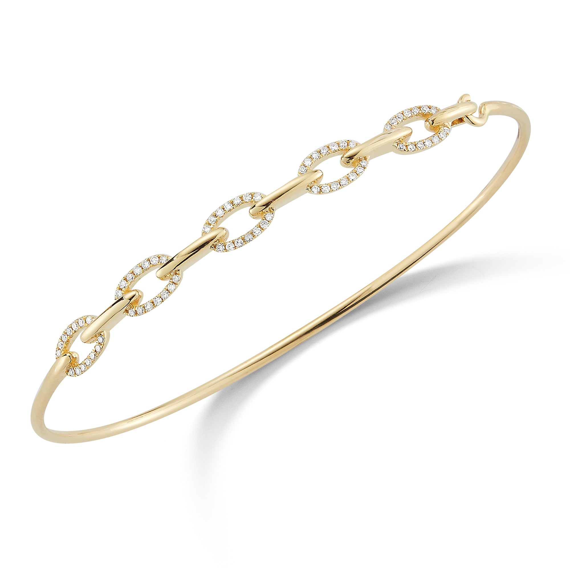 Diamond Half-Way Chain Link Bangle Bracelet