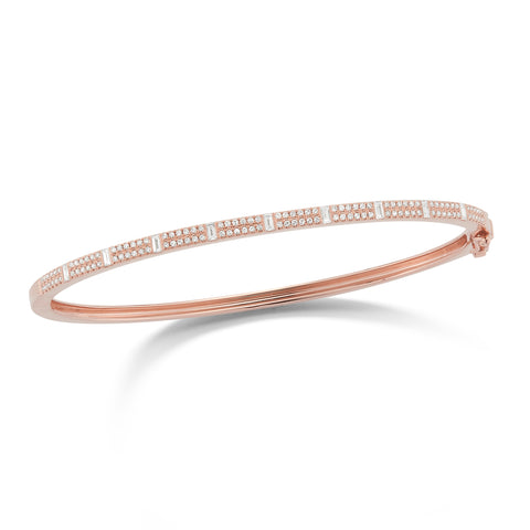 Baguette & Round Diamond Bangle Bracelet