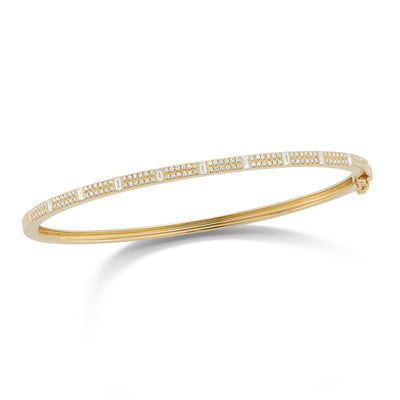 Round & Baguette Diamond Bangle Bracelet