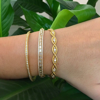 Diamond Baguette Bangle Bracelet