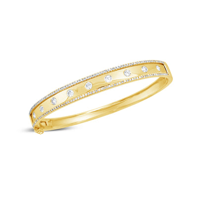 Bezel-Set & Pave Diamond Wide Bangle Bracelet