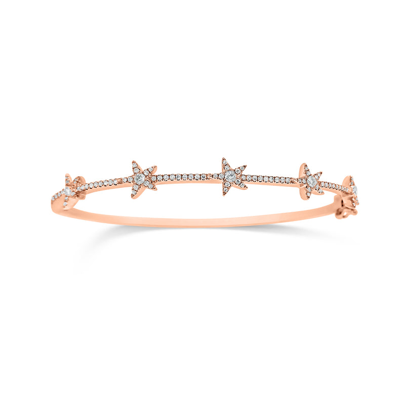 Dainty Diamond Star Bangle Bracelet