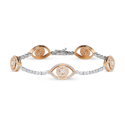 Diamond Bracelet with Evil Eye Stations