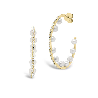 Pearl & Diamond Open Hoop Earrings