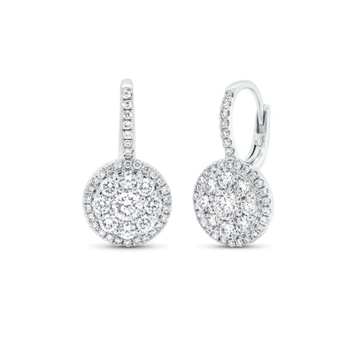 Diamond Round Cluster Lever-Back Earrings
