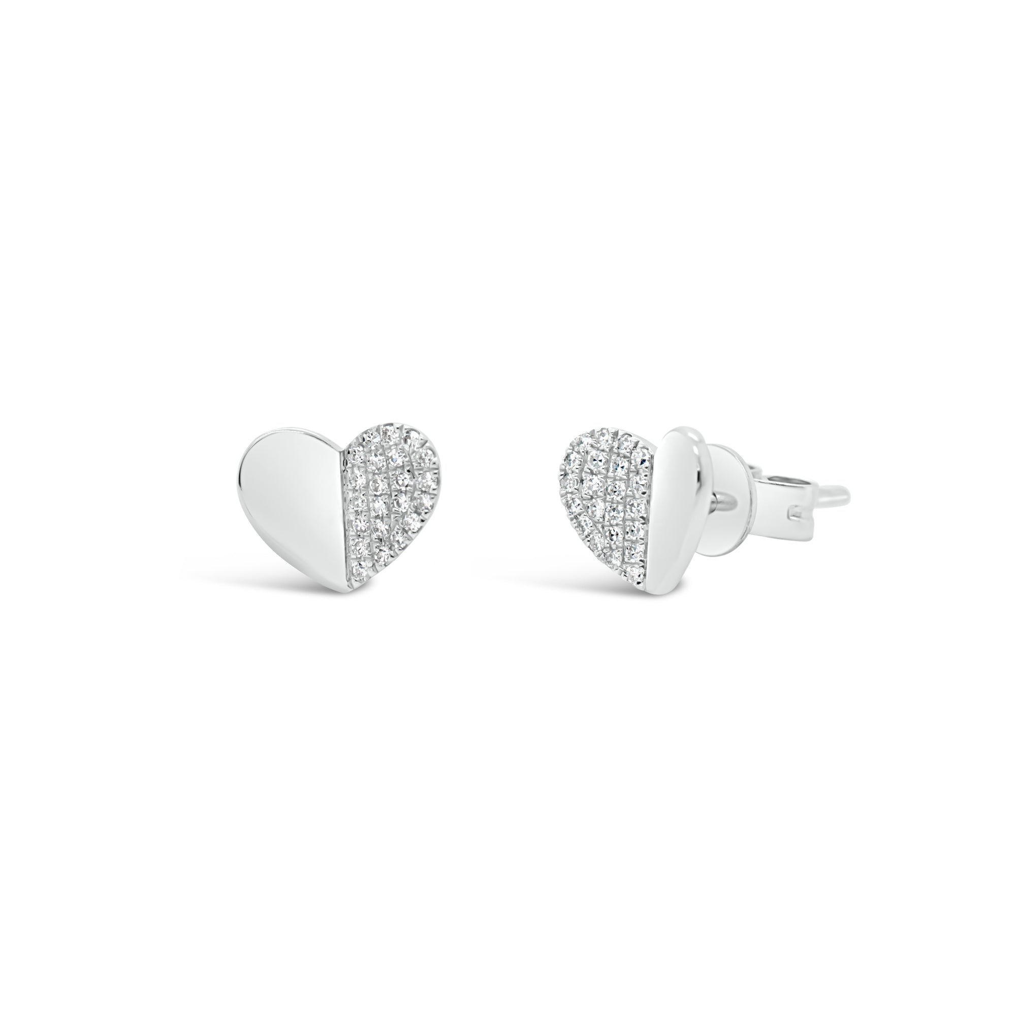 Diamond Half-Set Heart Stud Earrings