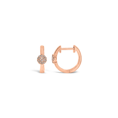 Gold Huggie Earrings with Diamond Centers