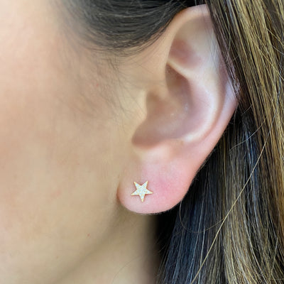 Diamond Star & Lightning Bolt Stud Earrings