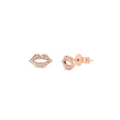Diamond Lips Stud Earrings
