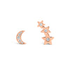 Diamond Moon & Star Crawler Earrings
