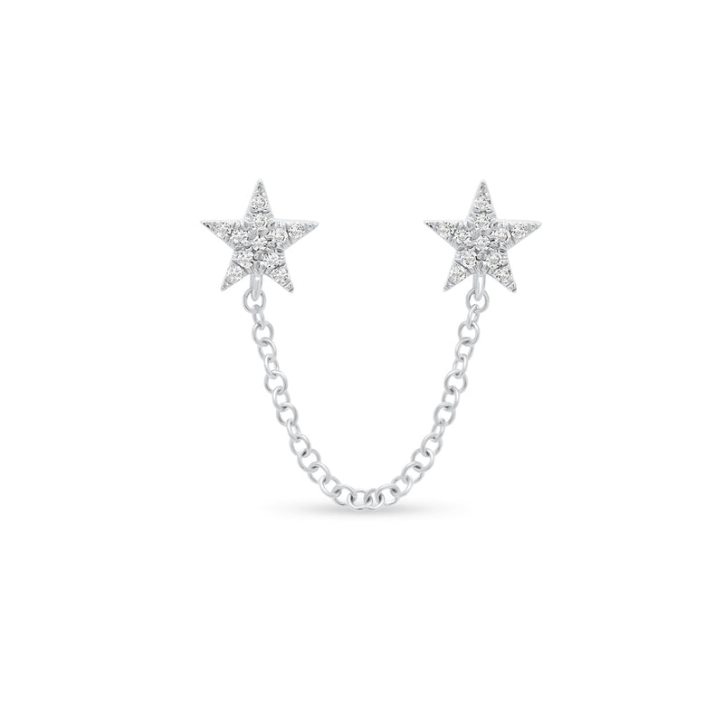 Diamond Double Star Chain Link Earring