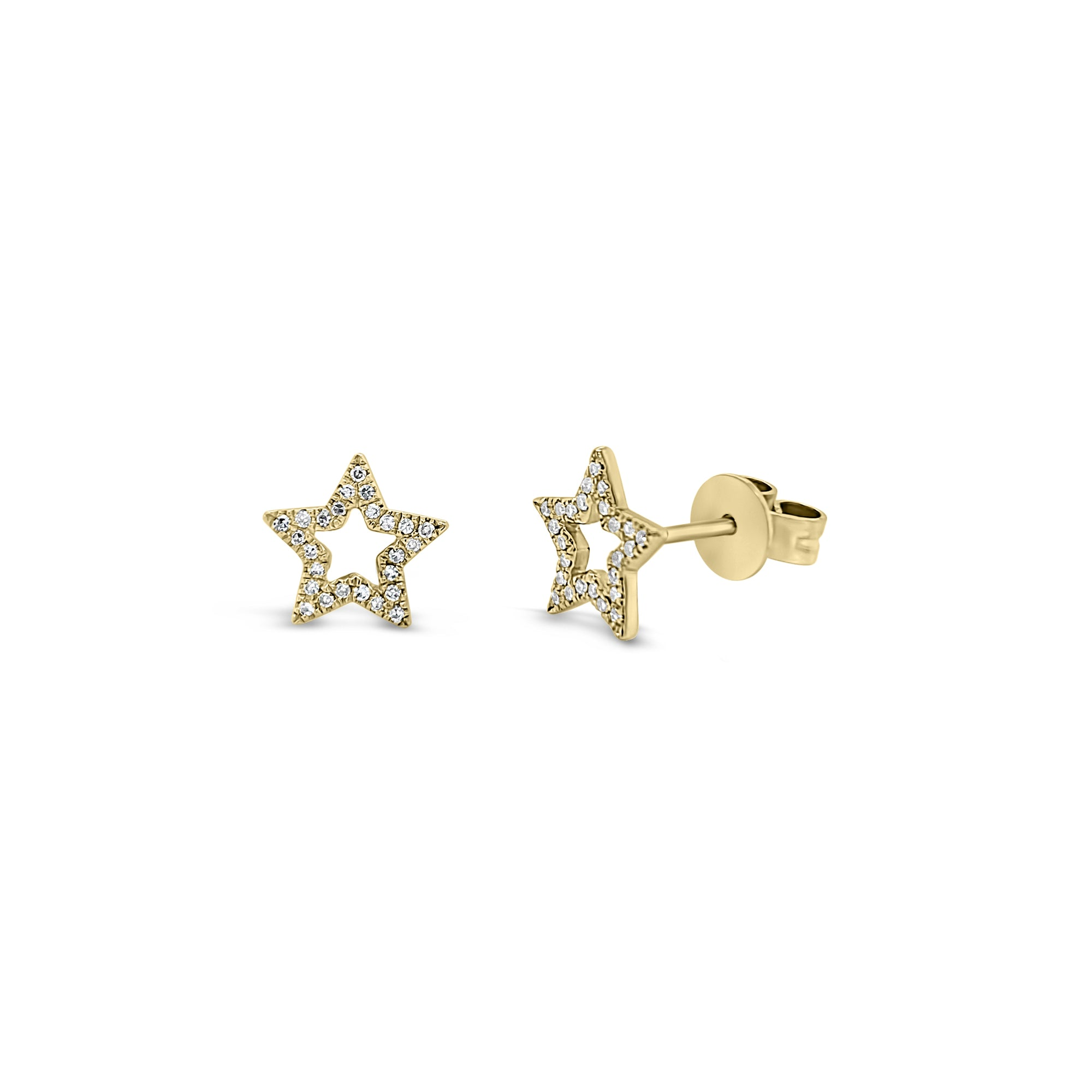 Diamond Open Star Stud Earrings