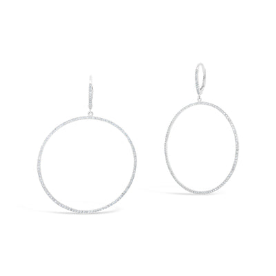 Diamond Hoop Dangle Earrings