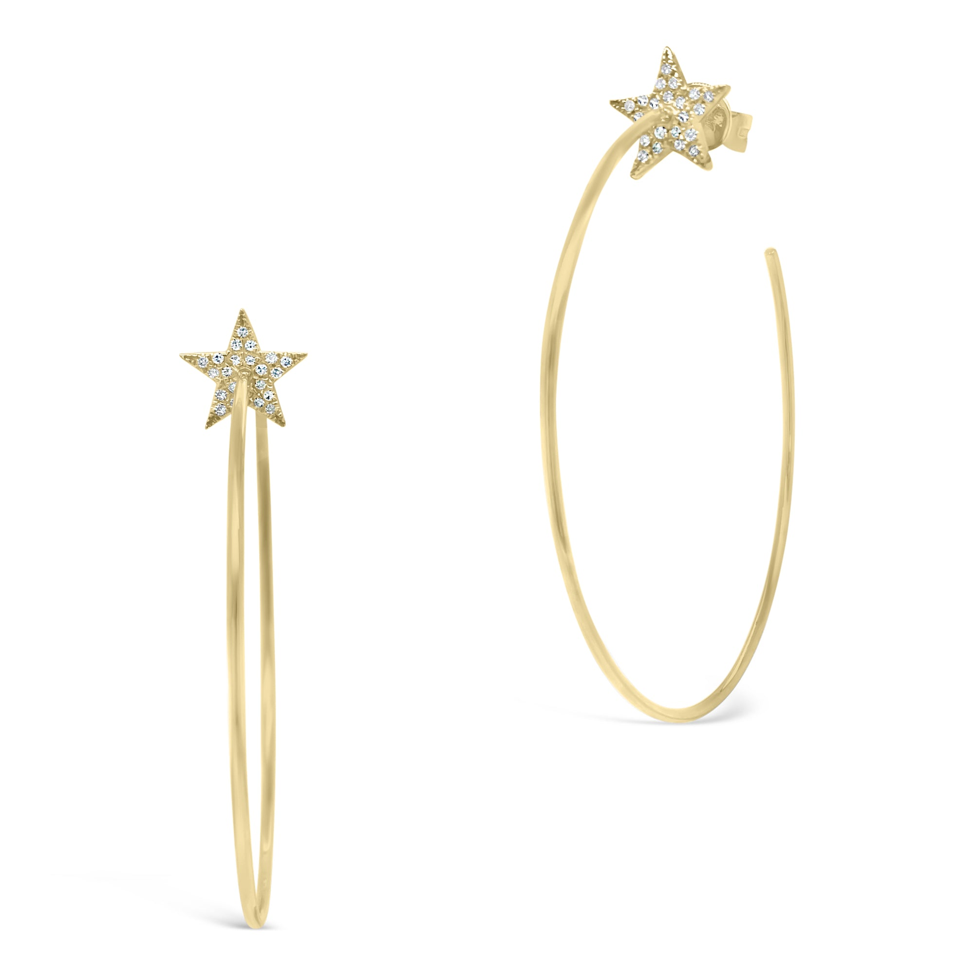 Gold Open Hoop Earrings with Diamond Stars