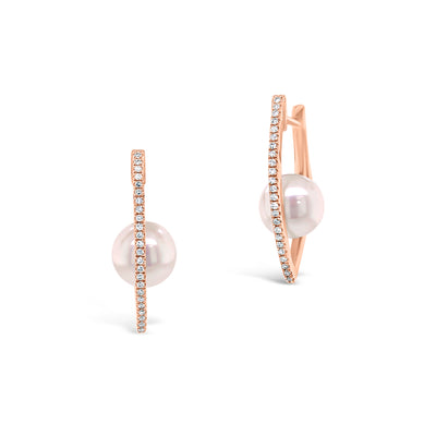 Diamond Hoop Earrings with Pearls