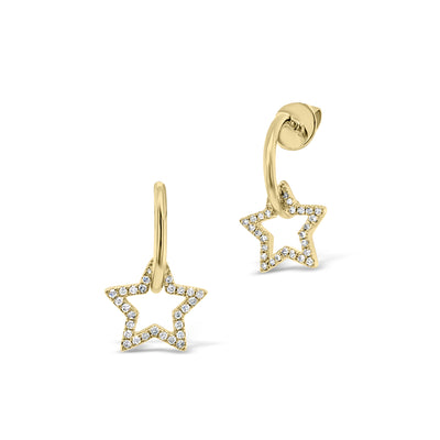 Gold Hoop Earrings with Diamond Star Cutouts