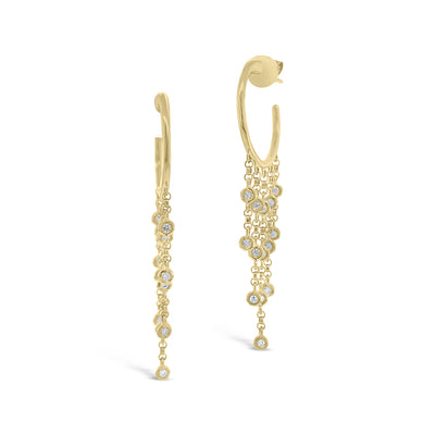 Gold Hoop Earrings with Bezel Set Diamond Drops