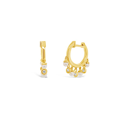 Diamond & Pearl Dangle Huggie Earrings