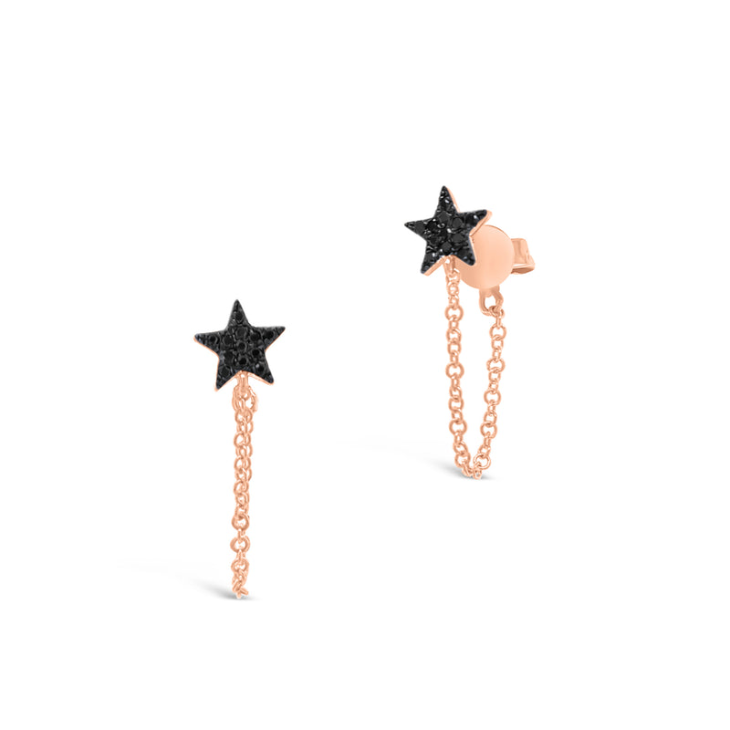 Black Diamond Star Drop Chain Earrings