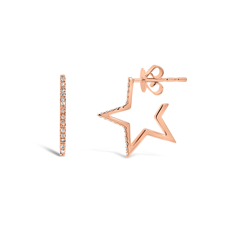 Diamond Small Star Hoop Earrings