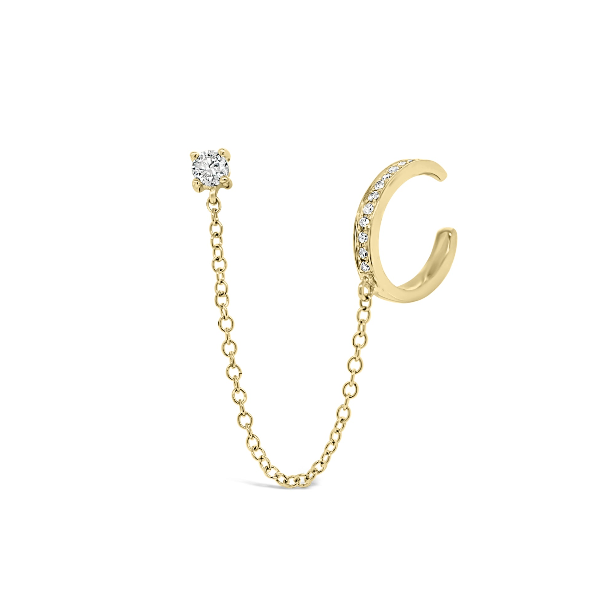 Diamond Ear Cuff with Chain and Diamond Stud