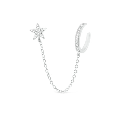 Diamond Ear Cuff with Chain and Diamond Star