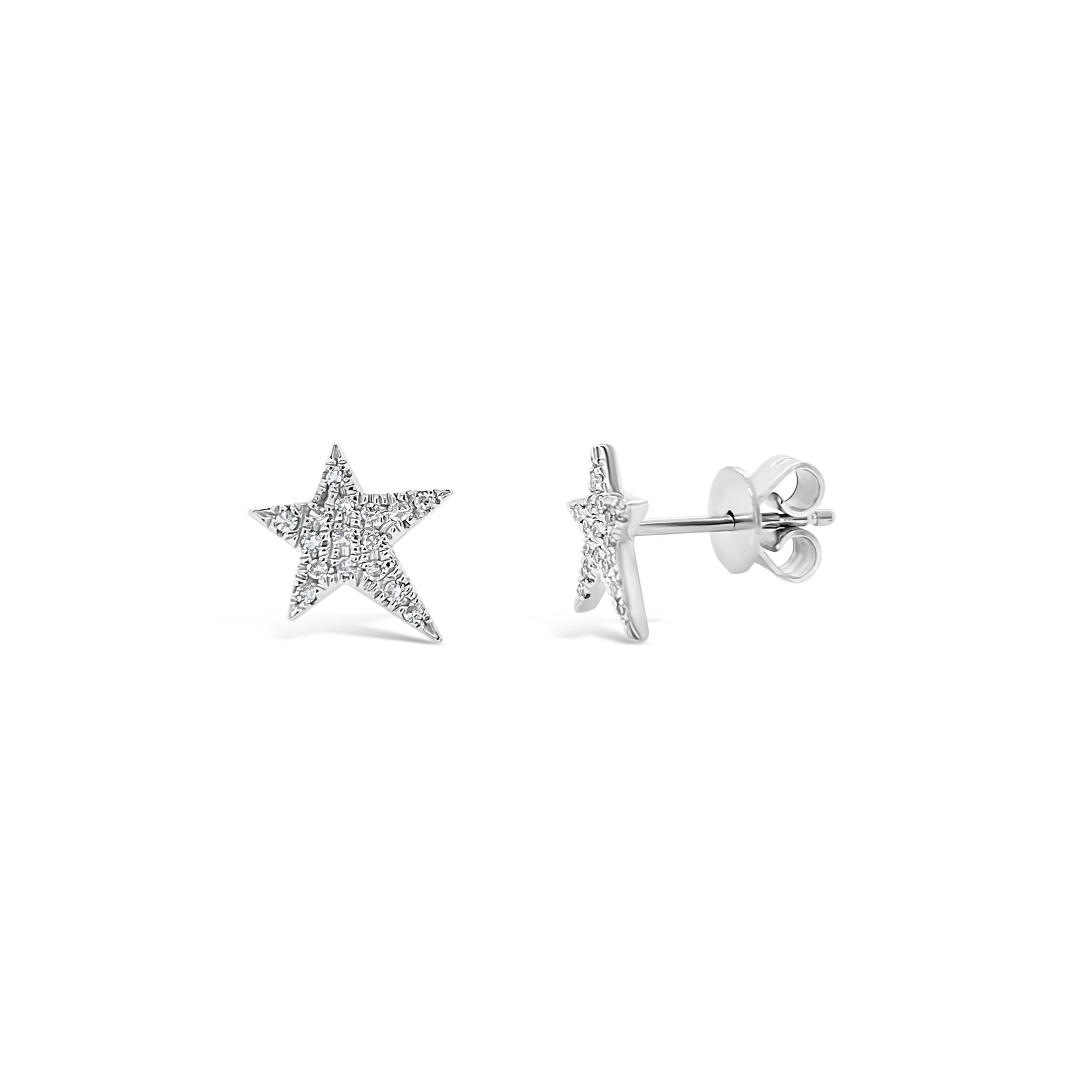 Diamond Asymmetrical Star Stud Earrings