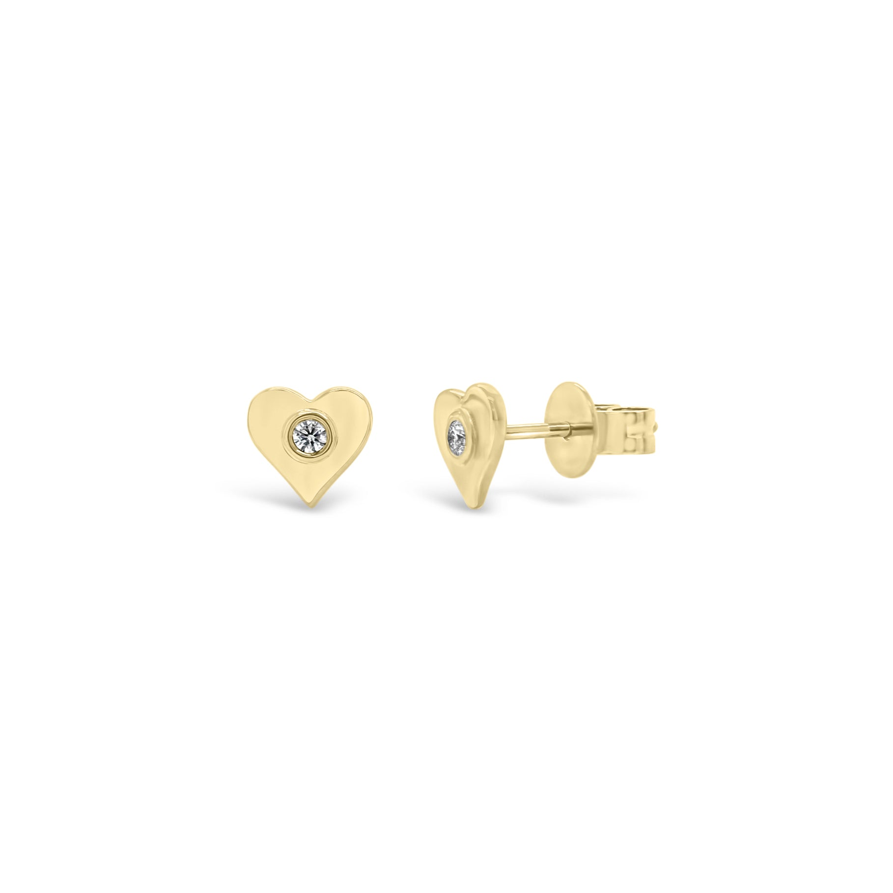 Gold Heart Stud Earrings with Diamond Centers