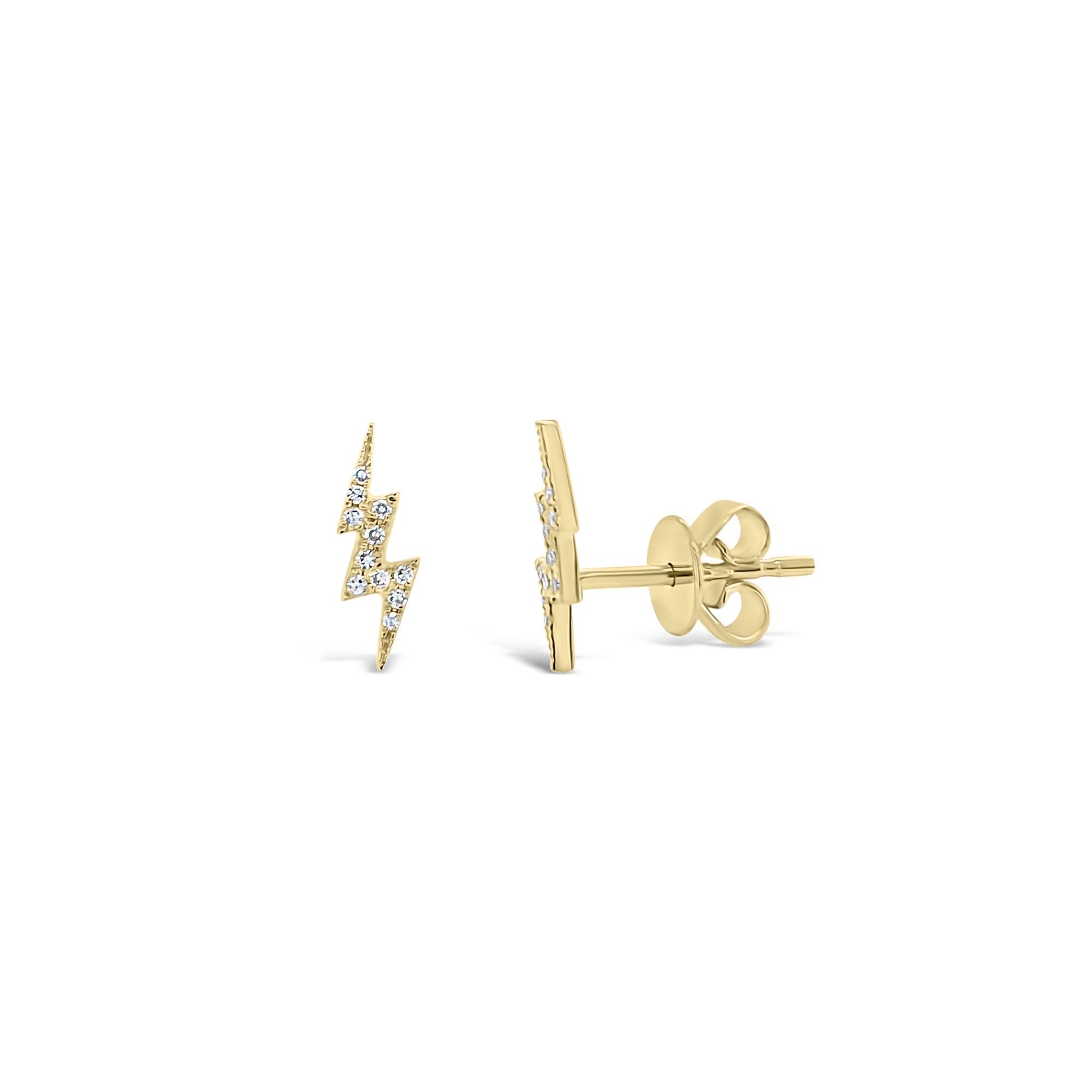 Diamond Lightning Bolt Stud Earrings