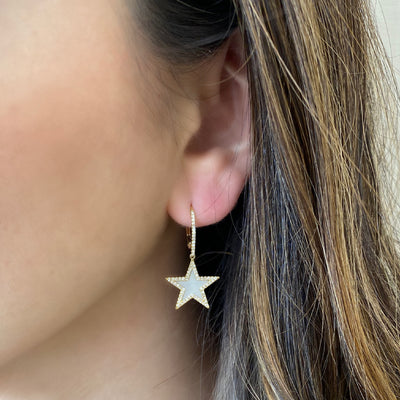 Mother of Pearl & Diamond Star Lever-Back Earrings