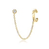 Gold Ear Cuff with Chain and Bezel-Set Diamond Stud