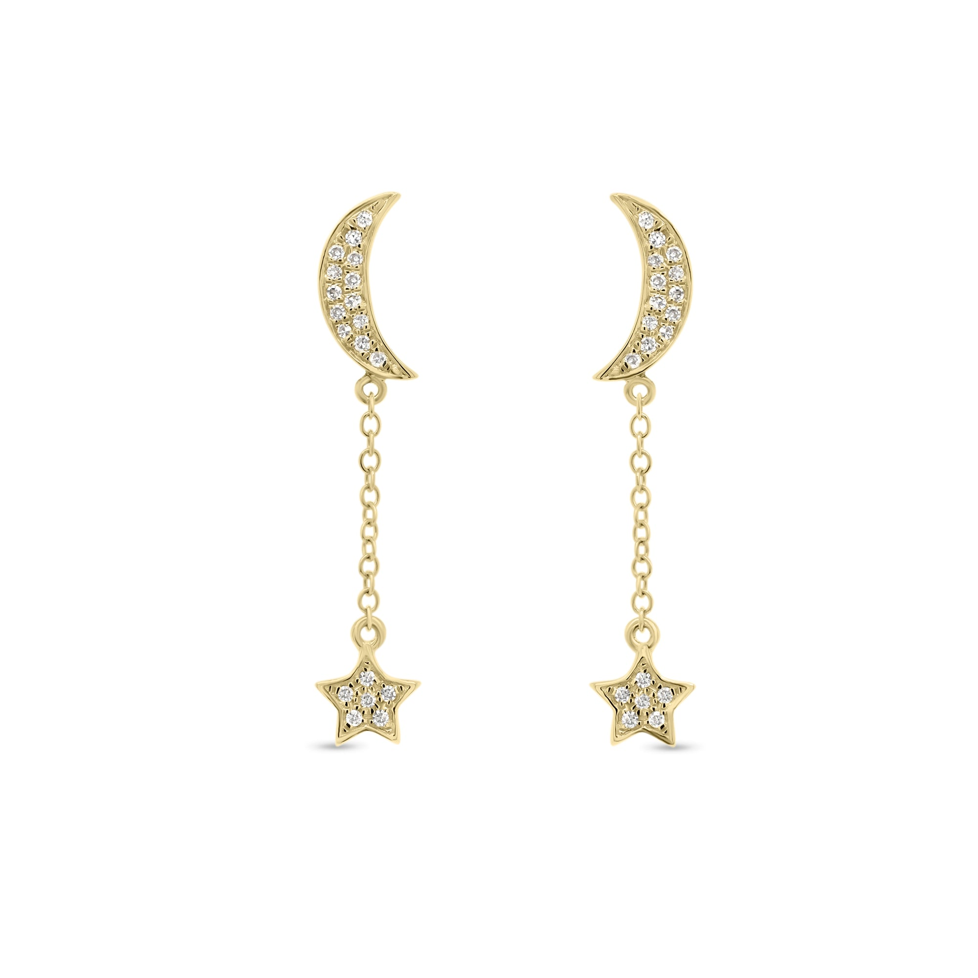 Diamond Crescent Moon & Star Dangle Earrings