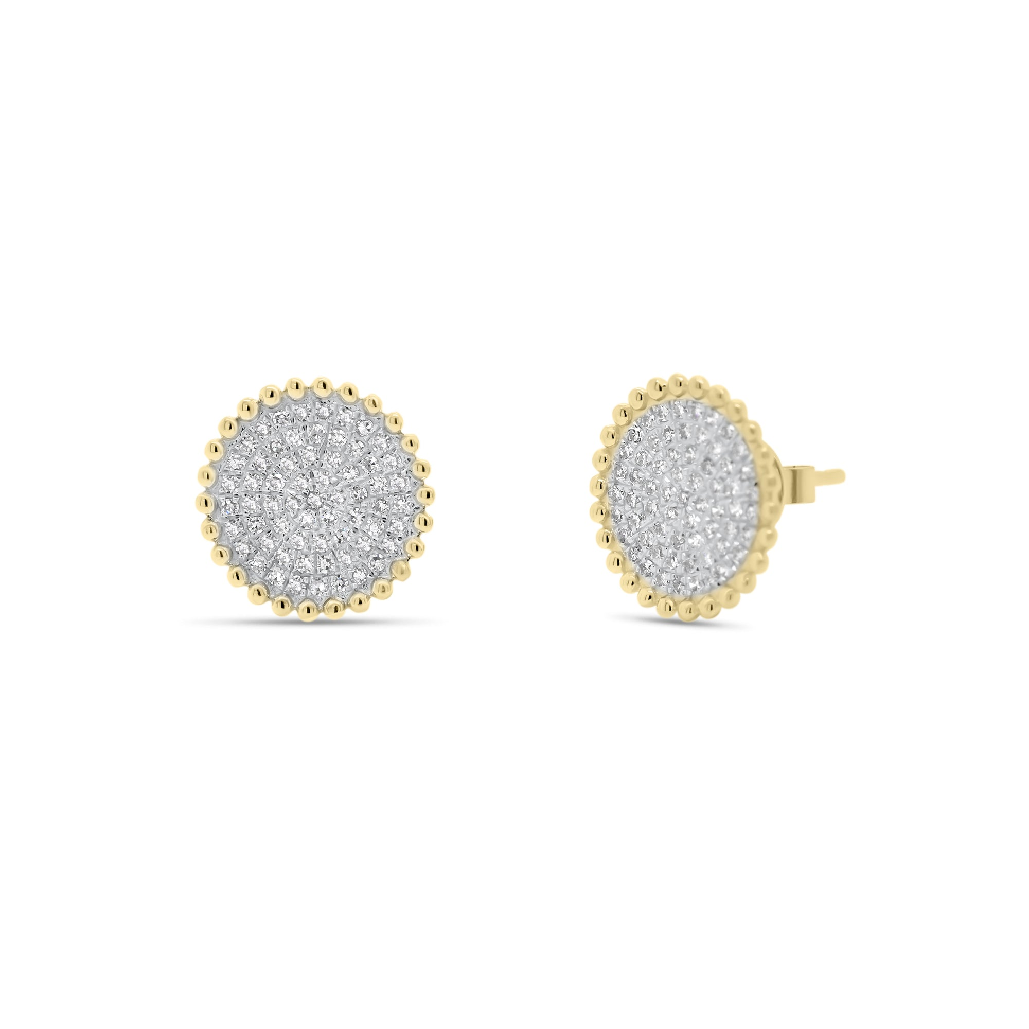Diamond Button Stud Earrings with Beaded Gold