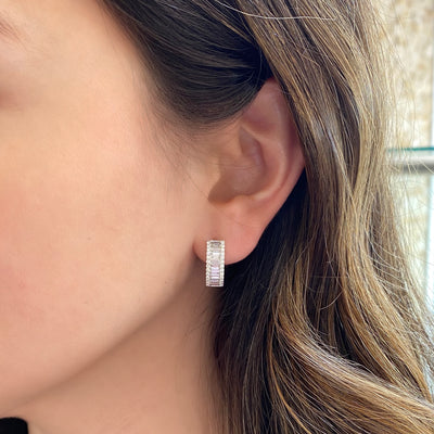 Diamond Baguette Wide Huggie Earrings