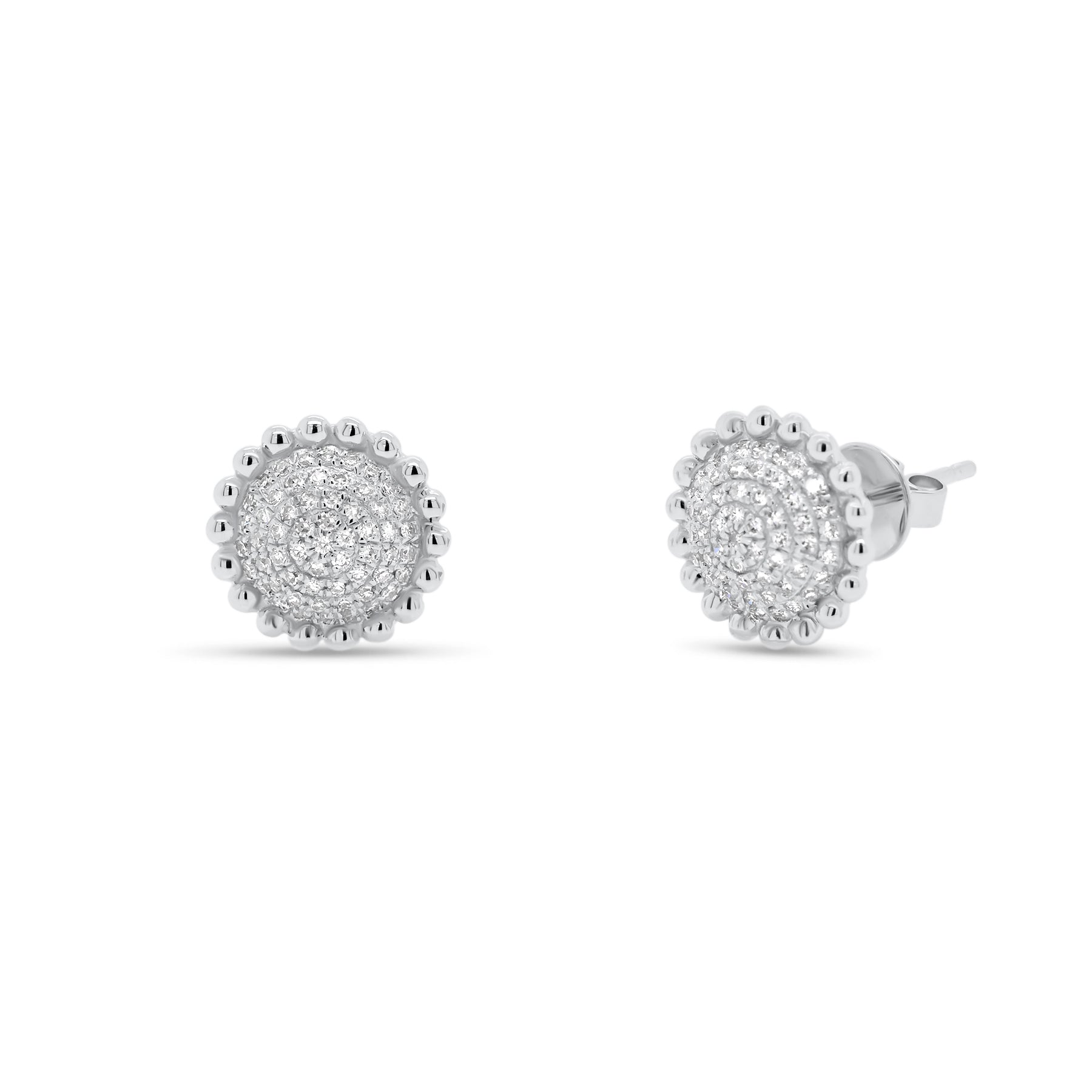 Diamond Layered Circle Stud Earrings with Beaded Gold