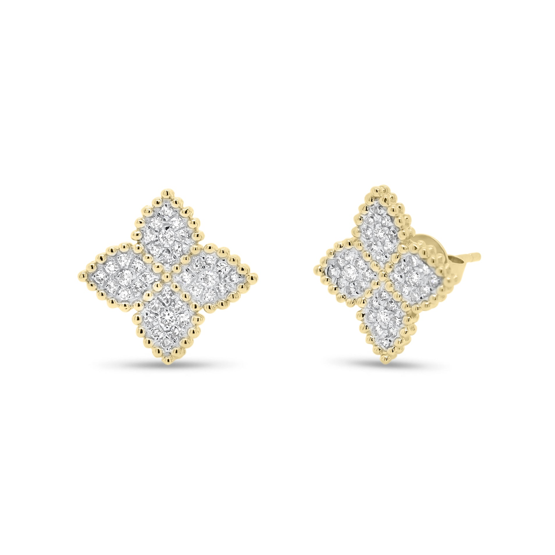Diamond Flower Stud Earrings with Beaded Gold