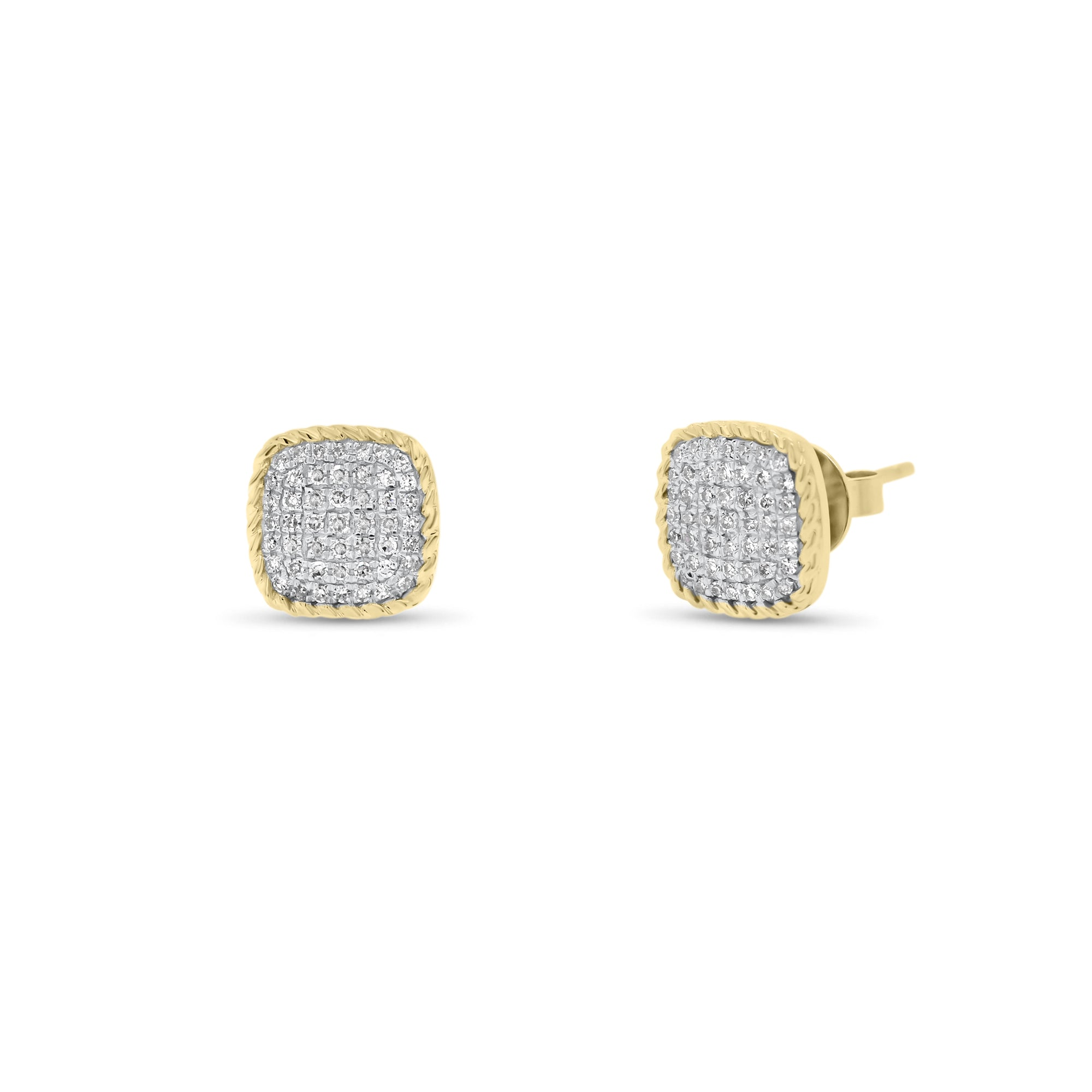 Diamond Cushion-Shaped Stud Earrings with Braided Gold
